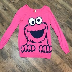 H&M Pink Cookie Monster Graphic Oversized Sweater